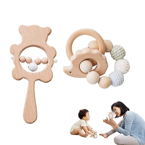 Promise Babe 2pc Pulsera de Madera Para Animales Juguetes Para Mordedor de Bebé Sonajero de Madera Orgánica Juguete para la Dentición Sensorial Juguetes Masticables de Enfermería