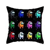 Bestomrogh Game Among Us Funda de cojín de terciopelo con diseño de dibujos animados, funda de almohada clásica decorativa cuadrada (45 x 45 cm) (#02)