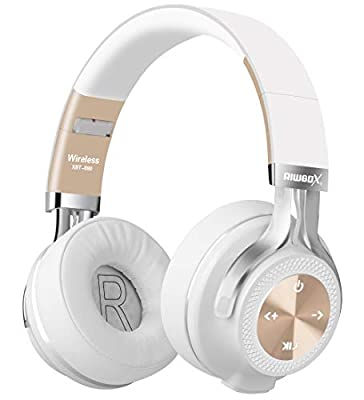 Bluetooth Headphones, Riwbox XBT-880 Wireless Bluetooth Headphones Over Ear with Microphone and Volume Control, Wireless and Wired Foldable Headset for iPhone/iPad/PC/Cell Phones/TV (White&Gold) from Riwbox
