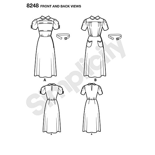 Simplicity Pattern 8248 D5 Misses' Vintage 1930s Dresses, Size D5 (4-6-8-10-12)