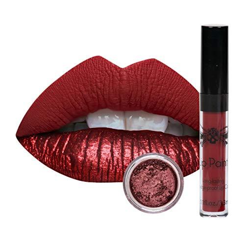 Tattoo Junkee Rebel, Dark Red Shade, 2-in-1 Lip Kit With Matte Liquid Lipstick & Shimmer Powder, Long Lasting, Cruelty Free