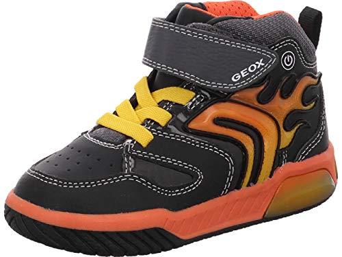 Geox Jungen J INEK Boy C Sneaker, Black/Orange, 24 EU