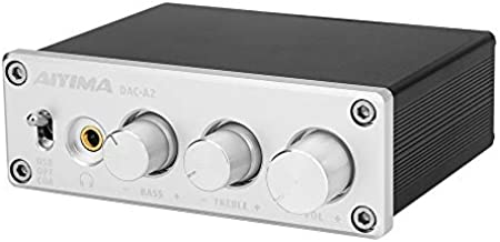 AIYIMA DAC-A2 Dac Headphone Amplifier with Bass and Treble Controls PC-USB/Optical/COAXIAL inputs, RCA/3.5mm Audio Headphone Output, Hi-Res Audio, Digital-to-Analog Converter, 5v 24Bit 96KHz