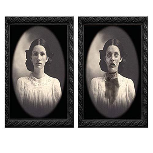 Zarupeng Halloween 3D Lentikular Magic Hologramm Wandportäts mit Horror Grusel Effelt als Dekoration für gespenstische Zombie- gruselige Themenpartys (1 PC)