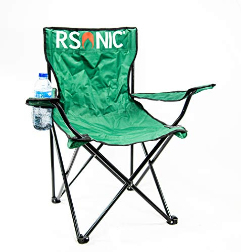RSonic Silla de Camping Plegable Soporte para Bebidas y Bolsa de Transporte, soporta hasta Aprox. Silla Plegable para Pesca (120 kg), Color Verde
