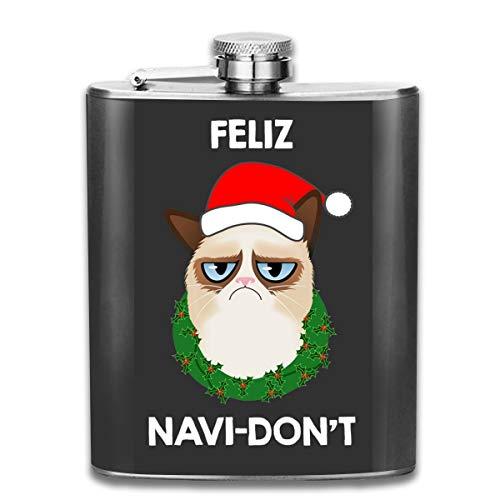 Feliz Navi-Dont Weihnachts-Katzen-Flachmann, Taschenflasche, tragbar, Edelstahl, 200 ml, Weiß