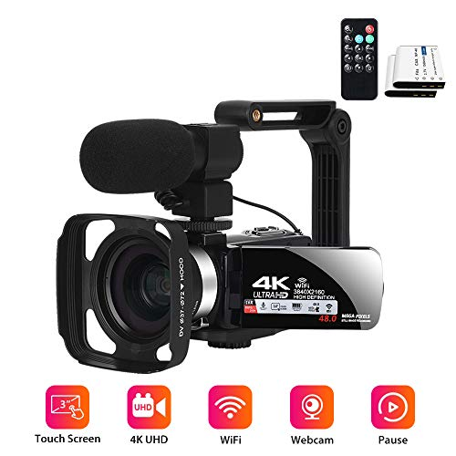 Video Digital Webcam Camcorder,Vlogging for YouTube 4K WiFi 48MP Video Recorders Camcorder Built in Fill Light Remote Control 3.0 Inch Touch Screen with Microphone- 2 Batteries
