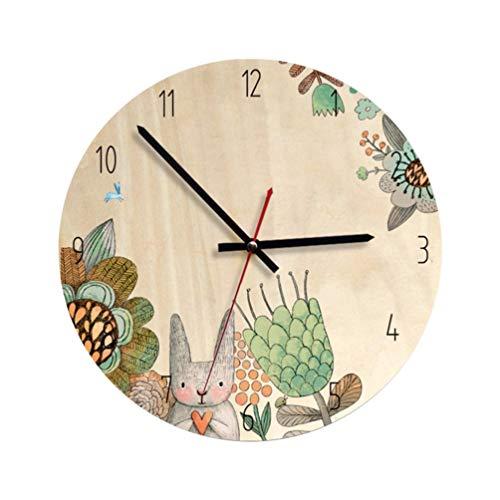 Relógio redondo BESPORTBLE, estilo nórdico, de madeira, decorativo, durável, estilo conto de fadas, para decoração de casa