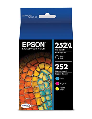 Epson 252XL/252 High-Yield Black And Standard-Yield Cyan/Magenta/Yellow Ink Cartridges, Pack Of 4 (Model T252XL-BCS)