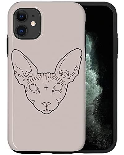 JUSPHY - Carcasa para iPhone 11, diseño de gato cruzado PIN443