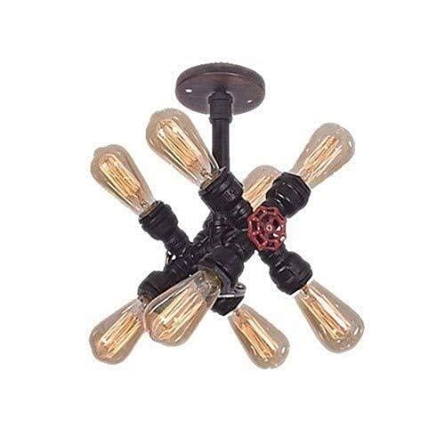 LLLKKK Steampunk - Lámpara de techo de estilo vintage industrial, diseño de tubería de agua, bronce, E27 Edison