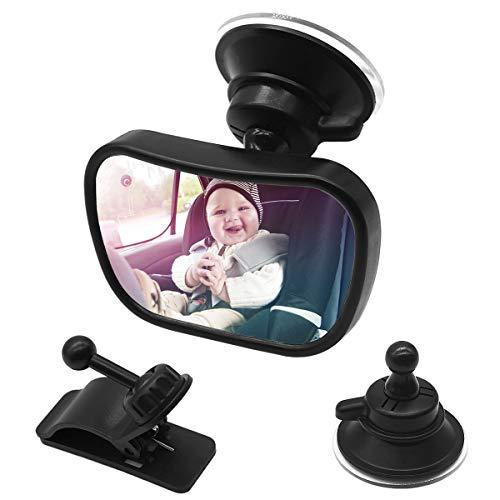 Netspower Rücksitzspiegel für Babys im Auto, Bruchsicherer Autositz Rückspiegel 360° Einstellbar, Sicher Babyspiegel mit Saugnapf und Rahmenclip Baby Auto Spiegel für Kinder Babysitz Babyschalen