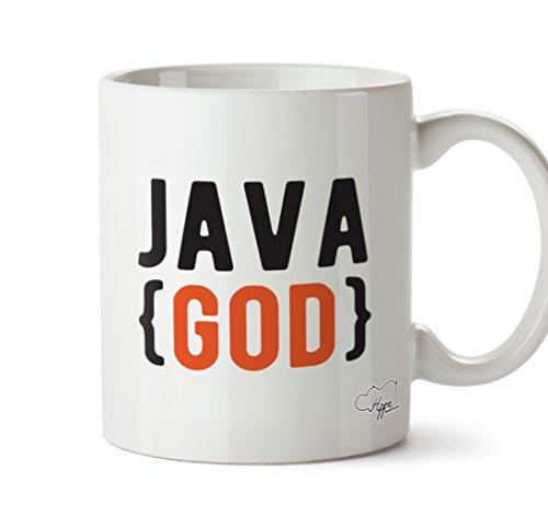 """Hippowarehouse Keramikbecher mit Aufdruck """"Java God"""", 284ml, keramik, weiß, One Size (10oz)"""