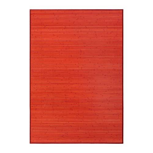 Lola Home Alfombra para salón de bambú (140 x 200 cm, Rojo)