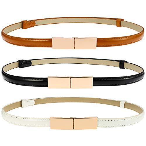FANTESI 3 Stück schmaler Taillengürtel für Damen, verstellbarer Ledergürtel mit Schnalle aus Goldlegierung