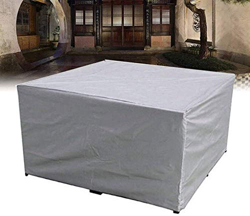 XJZKA Garden Furniture Sets 150x150x75cm Water Resistant Windproof Patio Set Cover with Windproof Drawstring for Outdoor Patio Sofa Couch, Gray