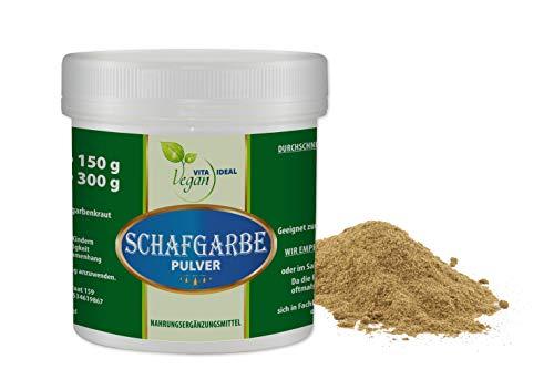 VITAIDEAL VEGAN® Schafgarbenkraut Pulver (Achillea millefolium) 100g inklusive Messlöffel, rein natürlich ohne Zusatzstoffe.