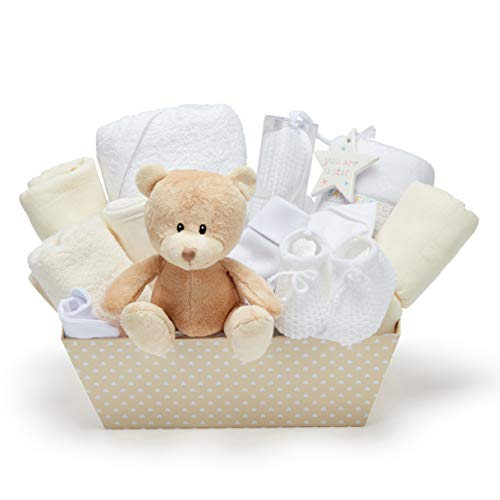New Baby Party Gift Basket - with fleece, hooded towel, baby clothes, 2 gauze scarves and cute brown teddy bear