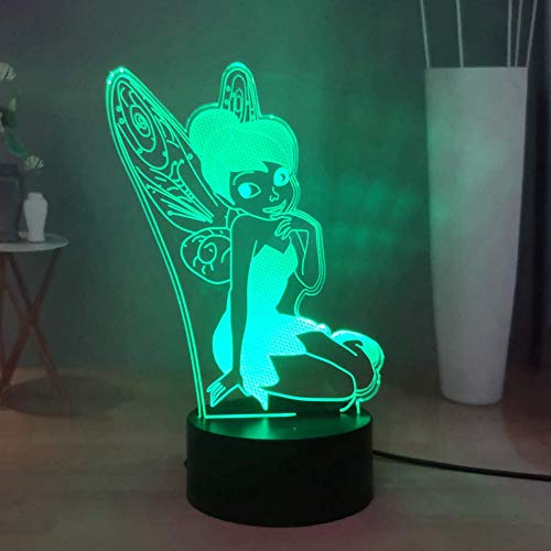 Laysinly Tinker Bell LED Night Lights, Peter Pan 7 Colors Desk Lamp, USB Touch Remote Child Bedroom Night Lamp, Cartoon 3D Acrylic Table Lamp, Kids Birthday Xmas Gift