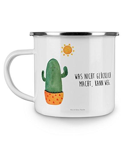 Mr. & Mrs. Panda Emaille-Optik, Camping, Camping Emaille Tasse Kaktus Sonnenanbeter mit Spruch - Farbe Weiß