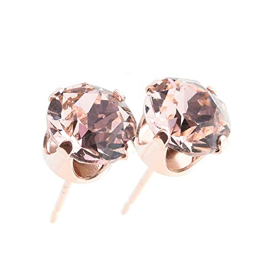 pewterhooter Women's 925 Sterling silver 14k Rose Gold plated earrings made with sparkling Vintage Rose crystal. Gift box.