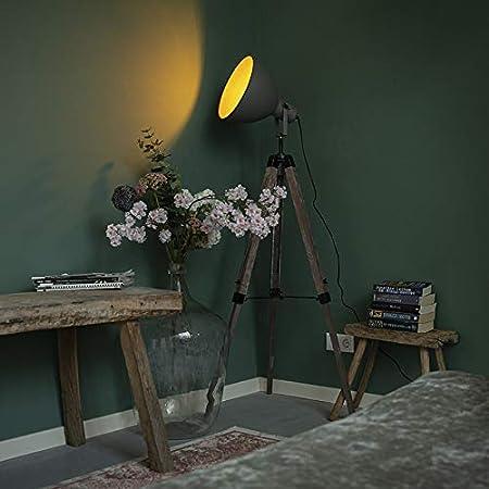 Qazqa Lampadaire | Lampe sur pied | Trépied Industriel - Laos Lampe Gris Marron - E27 - Convient pour LED - 1 x 60 Watt