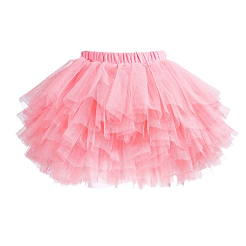 elamccor Tutu Skirt for Baby Girl Toddler 6 Layered Tulle Skirts, Watermelon Pink, 6-8T