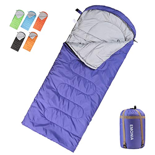 EMONIA Camping Sleeping Bag, 3-4 Season Waterproof Outdoor Hiking Backpacking Sleeping Bag Perfect for Traveling,Lightweight Portable Envelope Sleeping Bags for Adults,Kids,Girls and Boys