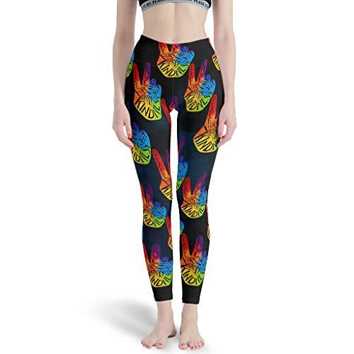 O5KFD&8 - Leggings para Mujer con diseño de símbolo de la Paz, Suaves, Ligeros, para Gimnasia, Sexy, para Mujer, Blanco, Large
