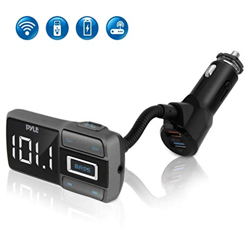 Digital Car Bluetooth FM Transmitter - Compatible Digital Car & Truck LED Screen Display, FM Transmitter Receiver, Audio Stereo Radio Adapter w/ Quick Charger, Mic Hands Free Calling - Pyle PBT99
