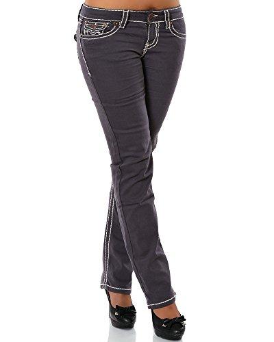 Daleus  Damen Jeans Straight Leg (Gerades Bein Dicke Nähte Naht 17 Farben) No 12923, Steingrau , 42
