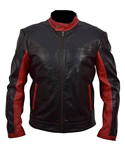 TIGMOND Herren Batman rot und schwarz Dark Knight Lederjacke XX-Large