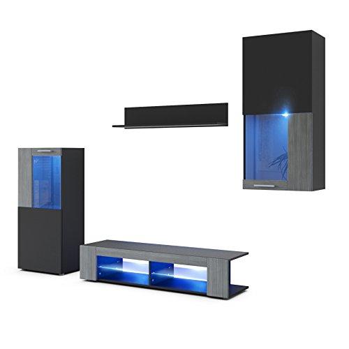 Wohnwand Anbauwand Movie, Korpus in Schwarz matt / Fronten in Schwarz matt und Avola-Anthrazit mit blauer LED Beleuchtung
