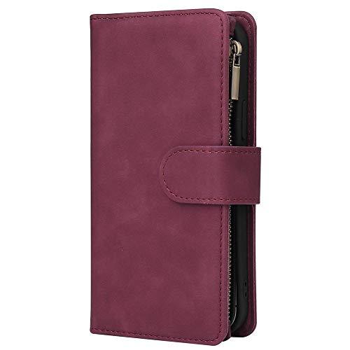 SNOWINSPRING Brieftasche HüLle für 12/12 Pro (6,1 Zoll), Premium PU Leder Rei?Verschluss Flip Folio Brieftasche mit Armband Magnetisch