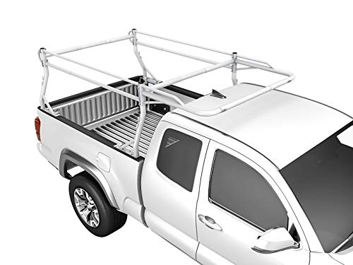 AA-Racks Model X39-8Clamp Pickup Truck Ladder Rack Side Bar with Long Cab Ext. (8) Non-Drilling C-Clamps - Matte White