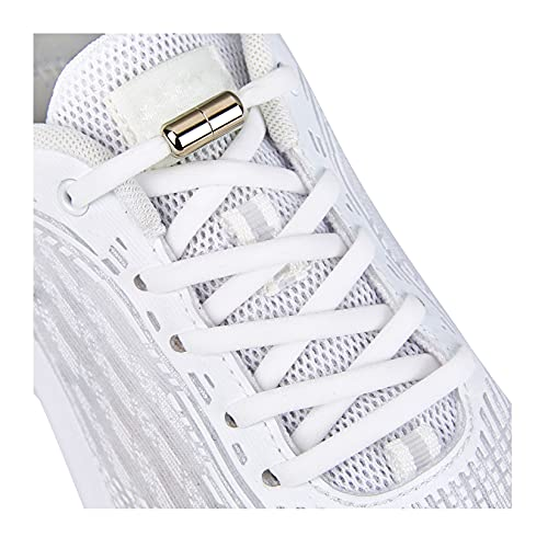 Elastic Shoe Laces for Kids and Adults Sneakers,Elastic No Tie Shoelaces White
