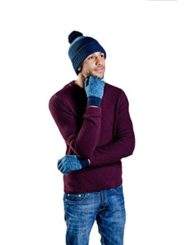 I-smalls Ltd Hommes Hamish Chapeau & Gants D'Hiver Chaud (Bleu/Bleu Marine)
