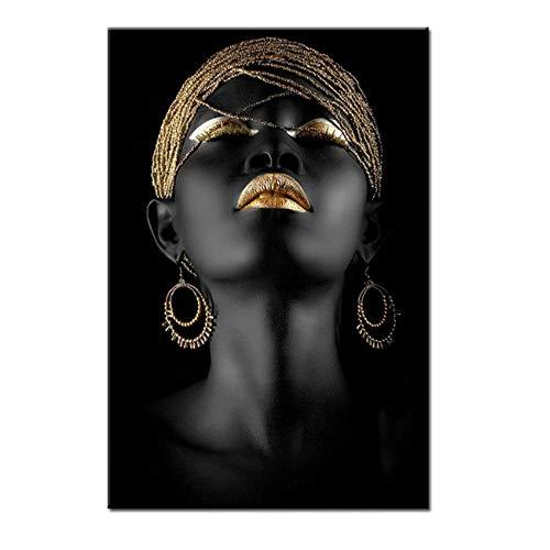 Impresión en lienzo Arte dorado y negro Mujer africana moderna Lienzo Pinturas de arte de pared Cartel de niña de moda para sala de estar Decoración para el hogar 60x80 cm (24x32 pulgadas) Sin marco