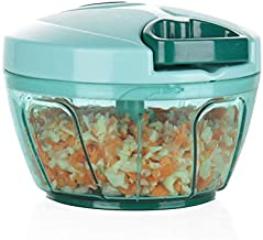 Ourokhome Mini Manual Vegetable Chopper- Portable Food Processor for Vegetables, Garlic, Onion and Meat (Blue)