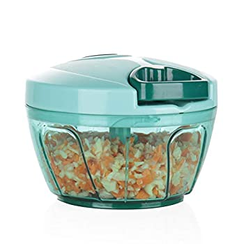 Ourokhome Mini Manual Vegetable Chopper- Portable Food Processor for Vegetables Garlic Onion and Meat  Blue