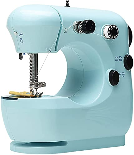 NKTJFUR Mini máquina de coser máquina de coser eléctrica para el hogar Mini multifunción pequeña máquina de coser manual (color: azul, tamaño: 20 x 10 x 19 cm) (color: azul, tamaño: 20 x 10 x 19 cm)