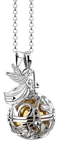 Nenalina EFS-040 - Collar de 80 cm con llamador de ángeles, incluye bola y alas de ángel, colgante de plata de ley 925