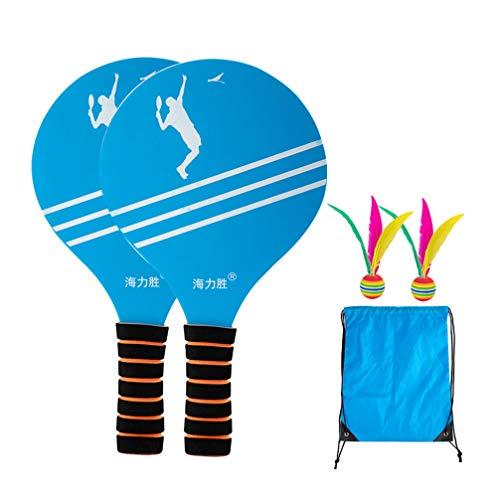 LIOOBO Strand Paddel Set Holzschläger Beachball Badminton Schläger Cricket Ball mit Federball Beutel für Büro Outdoor Sport Style a