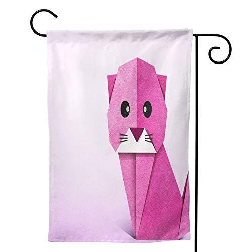 OMNVEQ Bandera De Jardín Origami Big Eye Lindo Gato Rosa Bandera De Temporada Festiva para Decoración De Exteriores Jardín Patio Bandera De Impresión Doble Cara