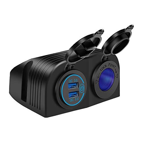 QC3.0 Cargador de Coche Doble USB Enchufe mechero Impermeable con Interruptor Táctil Panel Cortina de Dos Agujeros para Coche Moto Marine