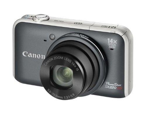 Canon PowerShot SX220 HS Digitalkamera (12 MP, 14-fach opt. Zoom, 7,6cm (3 Zoll) Bildschirm, Full HD, bildstabilisiert) grau