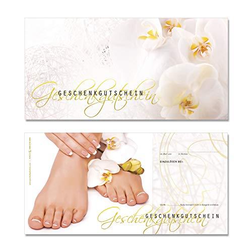 25 hochwertige Gutscheinkarten Geschenkgutscheine DIN-lang. Gutscheine für Fußpflegeinstitut Fußpflege. Vorderseite hochglänzend. FU9223