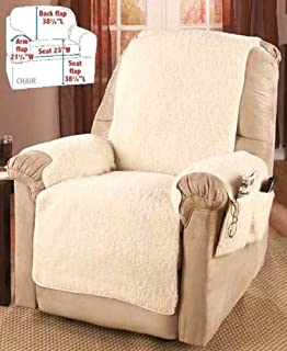 Moon_Daughter Comfortable Fleece Recliner Armchair Chair Cover Protector Storage with 4 Pockets Book Glasses Natural Color