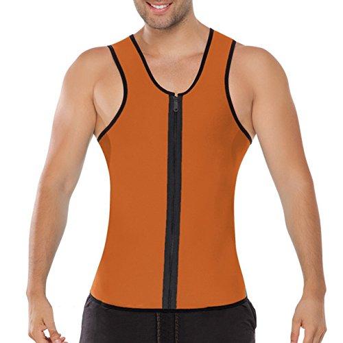 ACMEDE Herren Abnehmen Bauch Körper Fitnessgürtel Former Tank Top Taille Shapewear für Weight Orange S