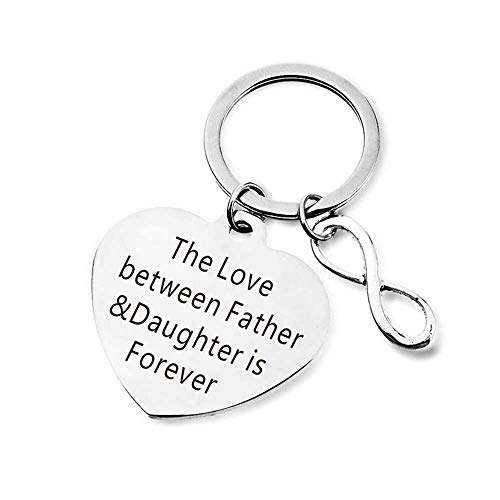 MJartoria Keychain for Father's Day Gift I'll Always Be Your Little Girl You Will Always Be My Hero Keychain Great Dad Gift from Daughter for Birthday (Silver, B-Father and Daughter)